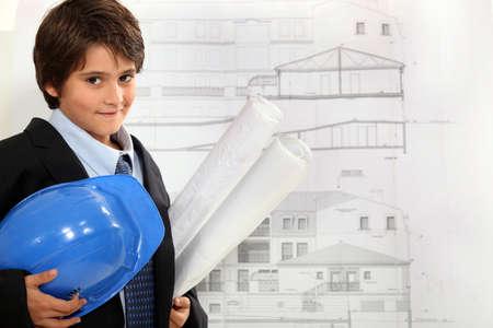 imitating: Child imitating architect