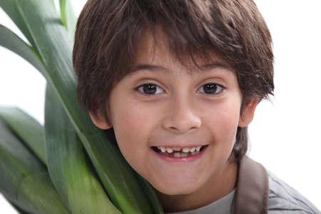 portrait of child in gardener clothes Stock Photo - 13866208