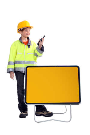 directing: Young girl pretending to be a traffic guard Stock Photo