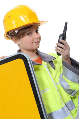 make belief: Child dressed up as a construction worker