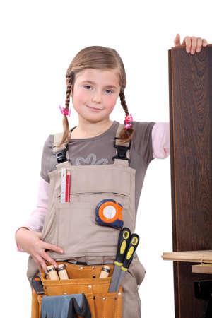 woman engineer: Girl carpenter Stock Photo