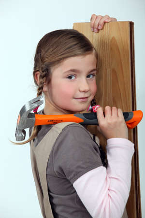 Girl with hammer photo
