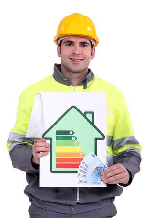 bionomics: Man stood with money and energy efficiency logo