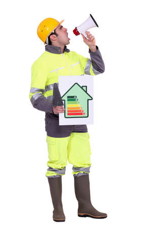 announcing: Builder with energy rating poster shouting through megaphone