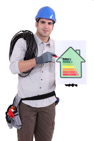 Electrician promoting energy savings. photo