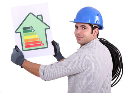 energy rating: Electrician with an energy rating card