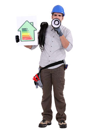 overseer: Electrician holding energy efficiency sign and megaphone
