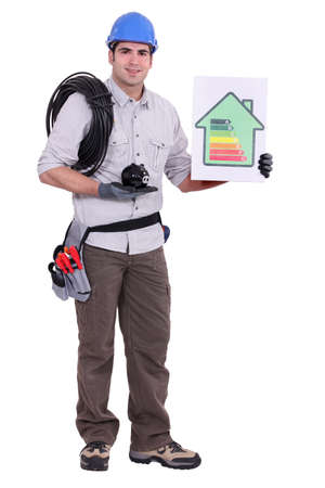 Electrician making money and energy savings photo