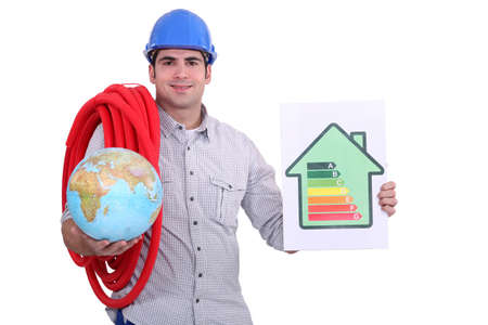 rated: Eco-friendly builder Stock Photo