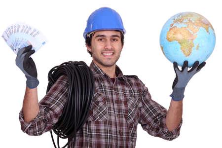 remuneraci�n: Comerciante hacerse rico de trabajar en el extranjero Foto de archivo
