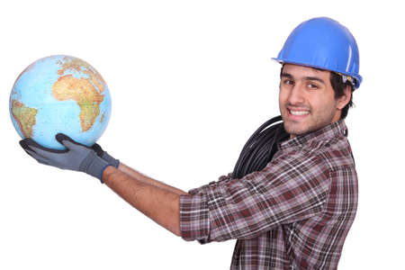 Electrician with  globe Stock Photo - 13868207