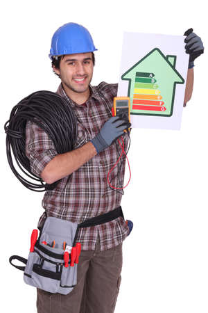 portrait of electrician all smiles photo