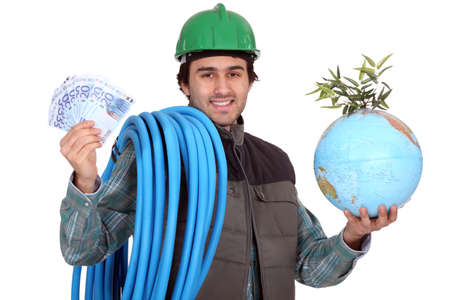 Plumber with cash and a globe photo