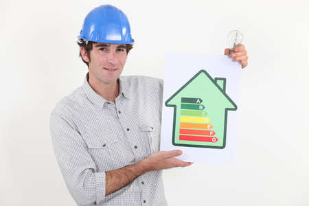 Constructor holding energy rating sign photo