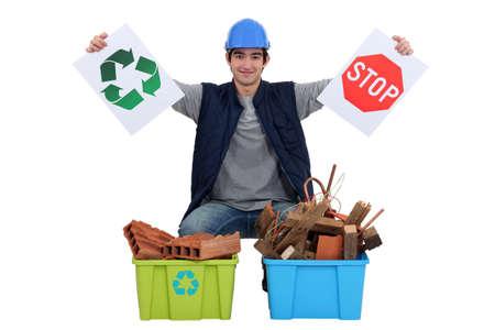 impede: Tradesman encouraging recycling