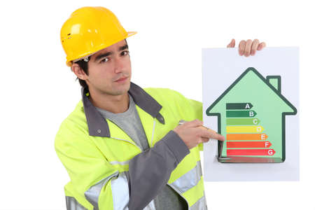 ineffective: Builder with an energy rating sign