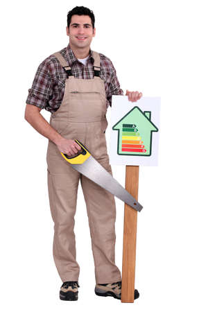 male mannequin: Holding energy information poster