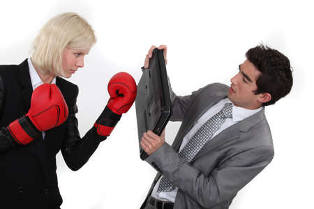 Business couple fighting Stock Photo - 13868208