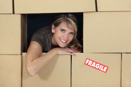 average woman: Female logistics manager surrounded by boxes