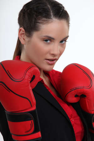 Attractive female boxer photo