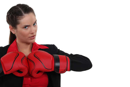 certitude: brunette with boxing gloves