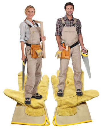female and male carpenter Stock Photo - 13868835