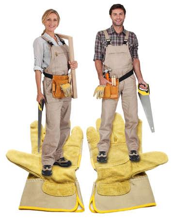 female and male carpenter Stock Photo - 13868835
