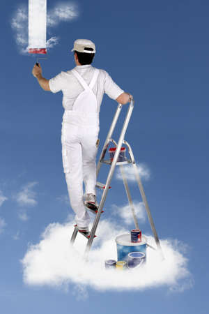 Decorator painting the sky photo