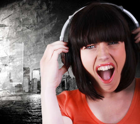woman listening music in her room photo