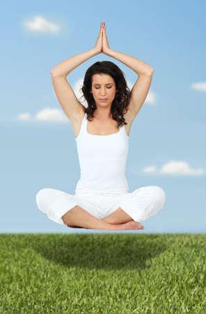 skinny girl: Woman in yoga position