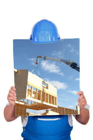 faceless worker showing a building site picture photo