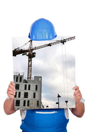 public works: blue collar hiding behind picture of construction site with crane