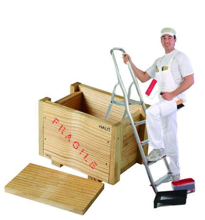 Painter lifting in wooden case Stock Photo - 13868035