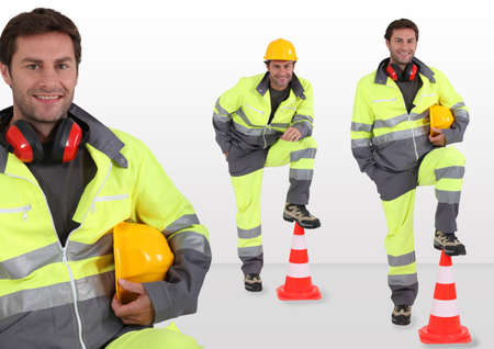 fluorescent: Traffic security worker Stock Photo