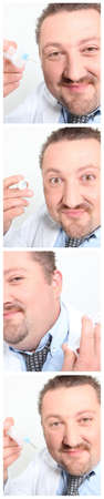 deranged: doctor holding an injection Stock Photo