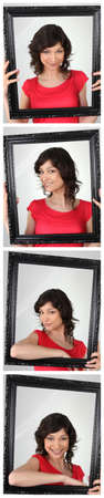 Photo strip of woman holding empty frame photo