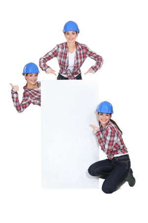 crouching: Female mason