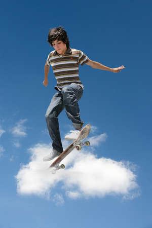 skateboarding: Man performing a skateboard trick