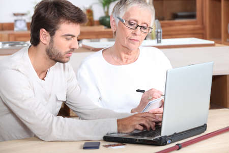 portrait of a young man and older woman Stock Photo - 13869260