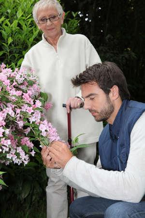 aide à la personne: vieille dame et le jardinier