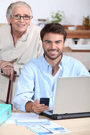 Happy doing accounting at home Stock Photo - 13863945