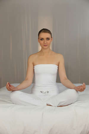 stance: Woman doing yoga exercises