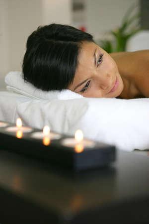 awaiting: Awaiting back massage Stock Photo