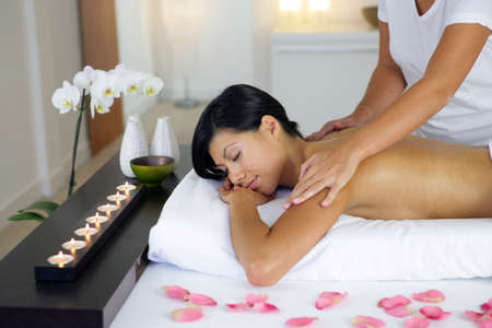 massage table: Woman having a massage