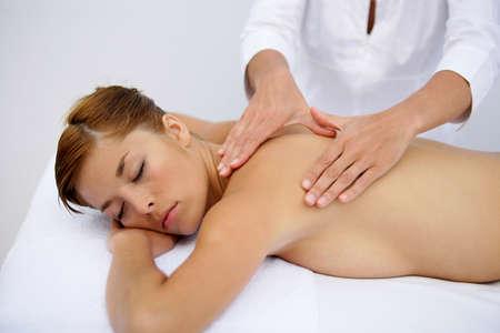 Woman receiving back massage Stock Photo - 13863970