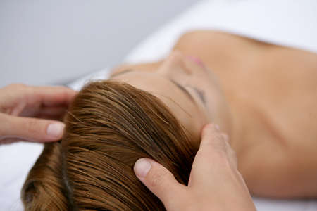 sanitarium: young woman having a massage Stock Photo
