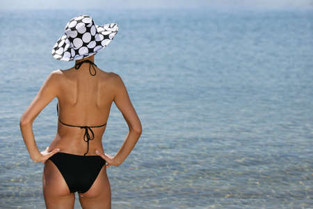 Woman in swimsuit, back view photo