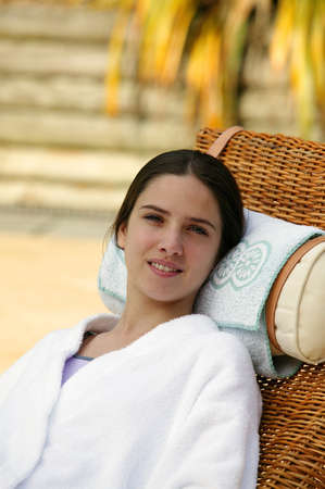 woman in a bathrobe relaxing in a spa center Stock Photo - 13861792