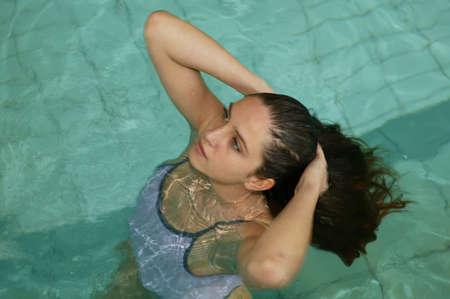 woman bathing: Woman in a swimming pool
