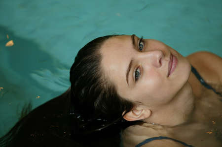 Woman in a swimming pool photo